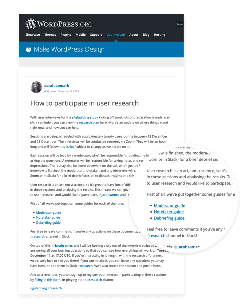 Post on make.wordpress.org inviting community to participate as researchers