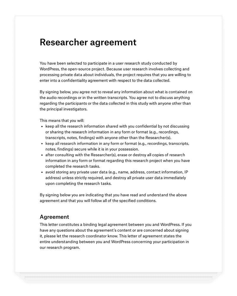 WordPress researcher legal agreement