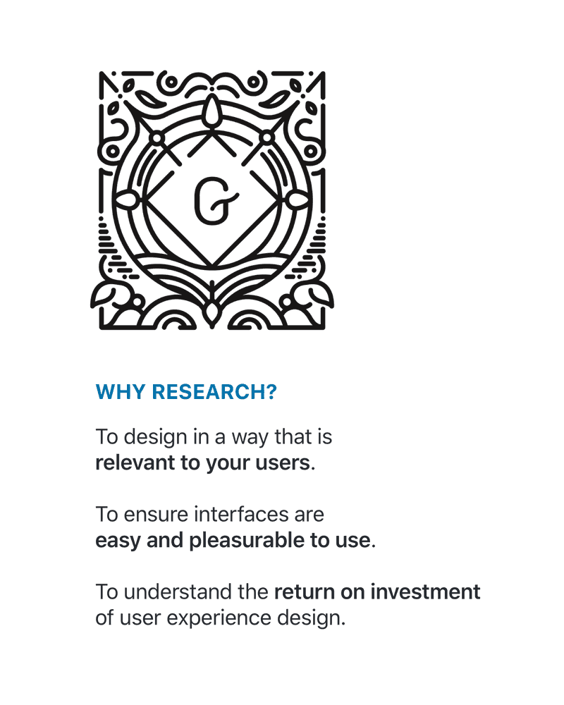 Gutenberg logo and list of reasons to do user research: To create designs that are